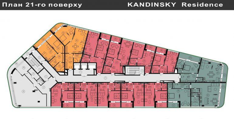 ЖК Кандинский План 21-го этажа