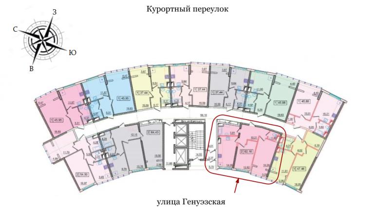 ЖК 36 Жемчужина Двухкомнатная Площадь 51,44 кв.м Расположение на этаже