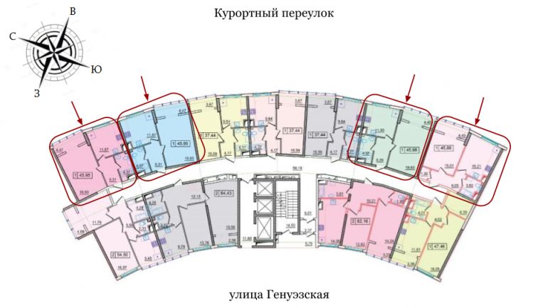 ЖК 36 Жемчужина Однокомнатная Площадь 45,76 кв.м Расположение на этаже