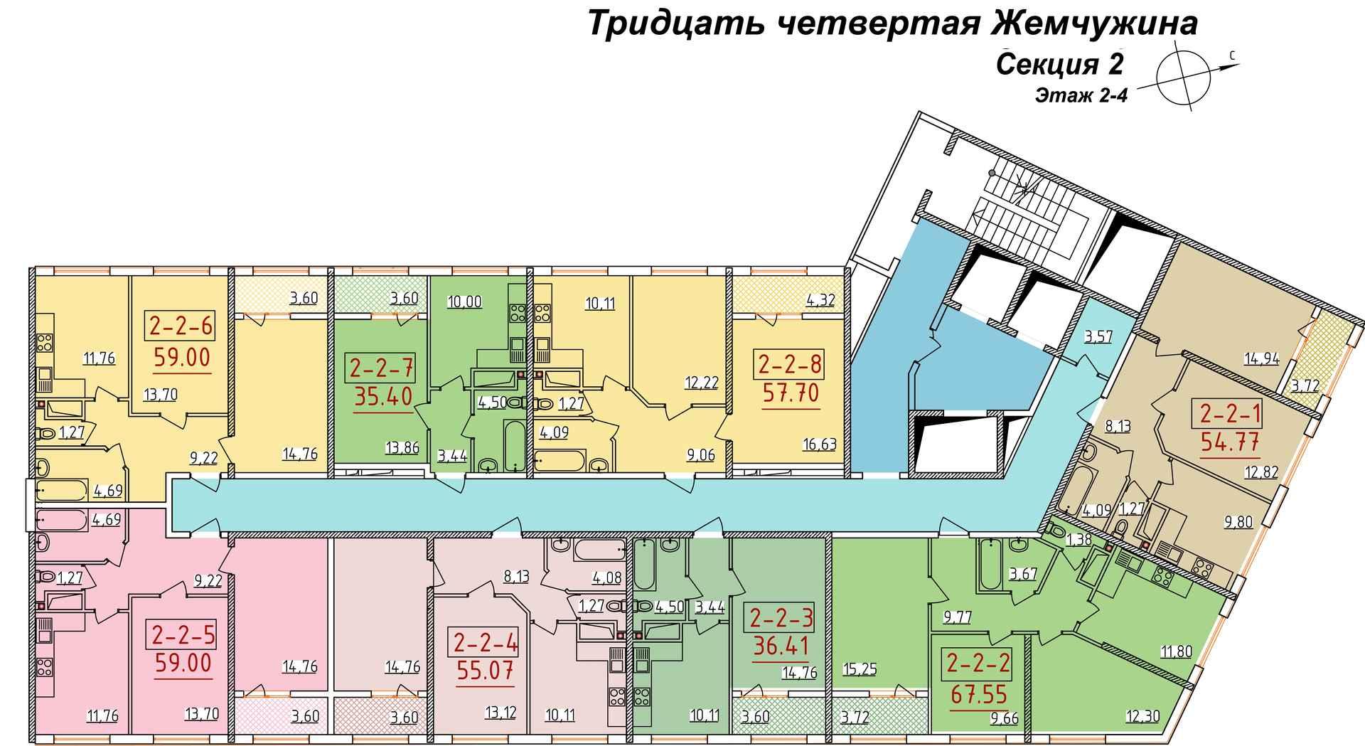 34 Жемчужина Планировка этажа Секция 2 Этаж 2-4