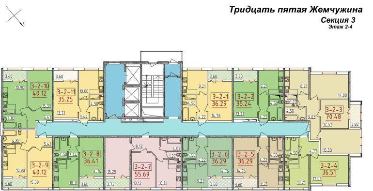 34 Жемчужина Планировка этажа Секция 3 Этаж 2-4