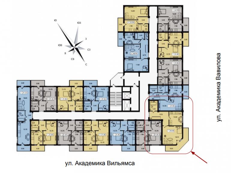 42 кв.м ЖК Два академика Однокомнатная Площадь Расположение на этаже
