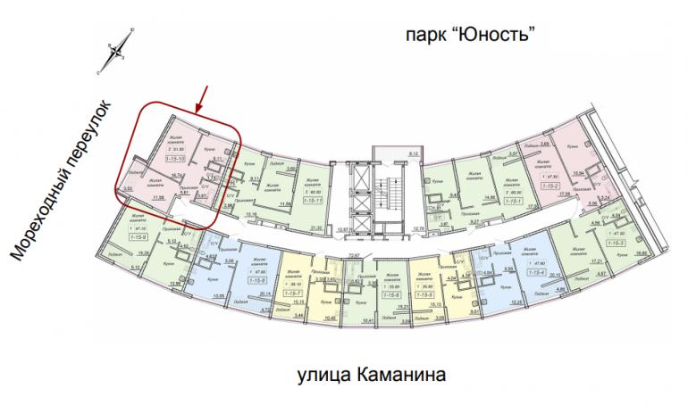 ЖК 43 Жемчужина 1 секция Двухкомнатная Площадь 51,4 кв.м Расположение на этаже