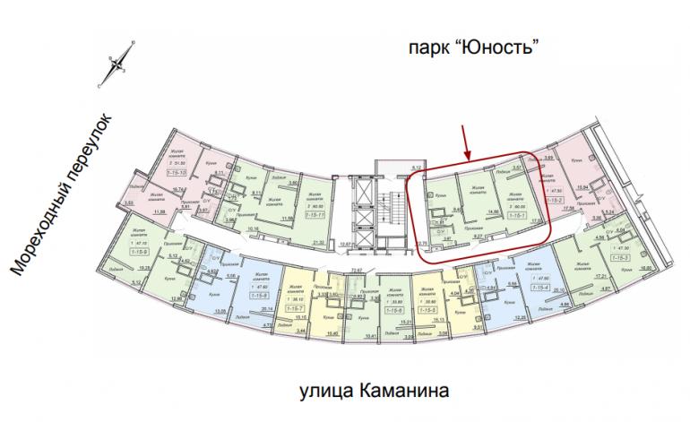 ЖК 43 Жемчужина 1 секция Двухкомнатная Площадь 60 кв.м Расположение на этаже