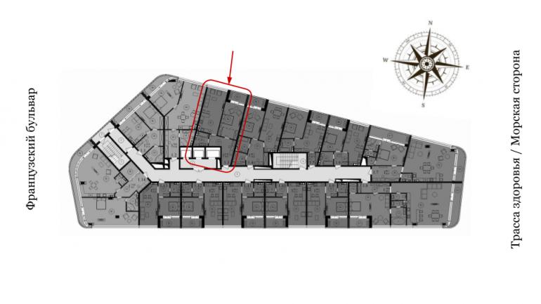 66,98 кв.м ЖК Кандинский 2 этаж Однокомнатная Расположение на этаже