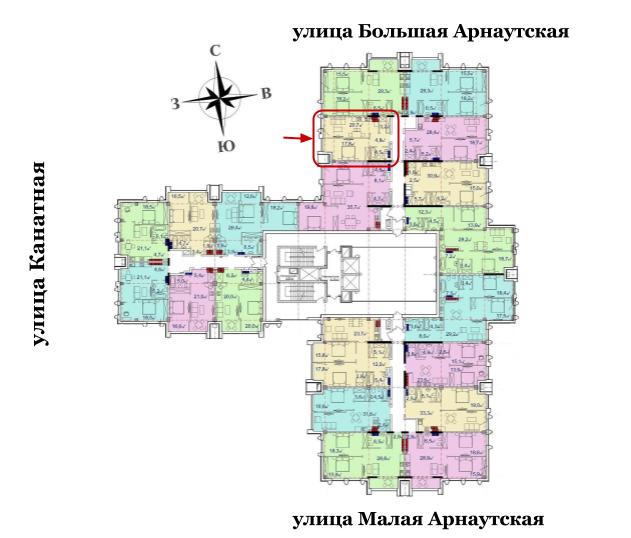 54,3 кв.м Башня Чкалов Однокомнатная Площадь Расположение на этаже