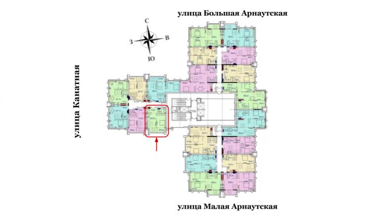 Башня Чкалов Однокомнатная Площадь 51,72 кв.м Расположение на этаже