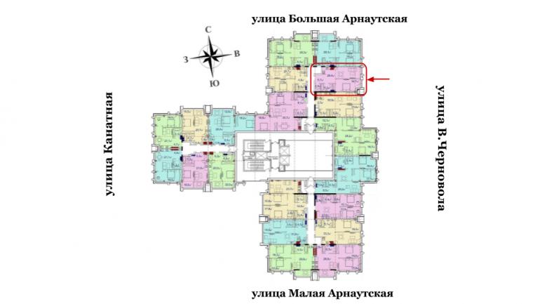 Башня Чкалов Однокомнатная Площадь 63,9 кв.м Расположение на этаже