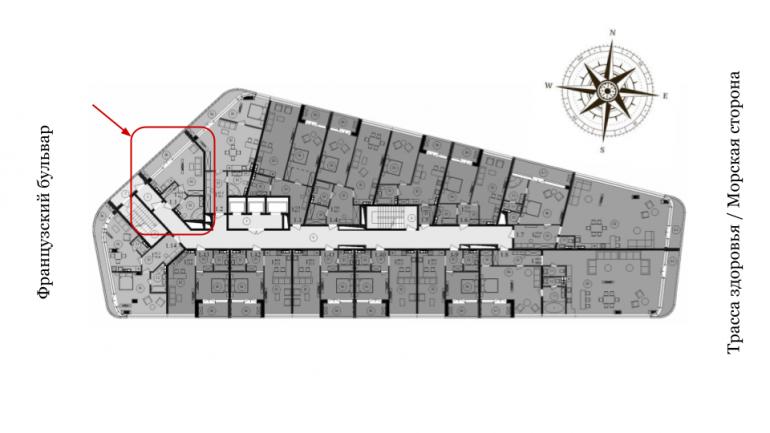 ЖК Кандинский Однокомнатная Площадь 38,3 кв.м Расположение на этаже