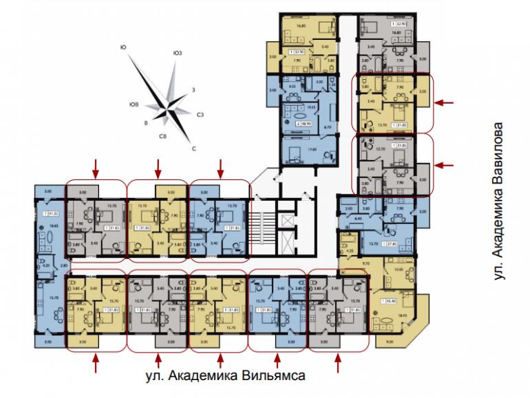 ЖК Два академика Однокомнатная Площадь 31,85 Расположение на этаже