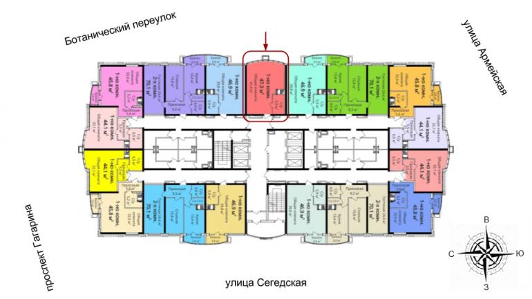 ЖК 4 сезона 3 очередь Однокомнатная 47,3 Расположение на этаже