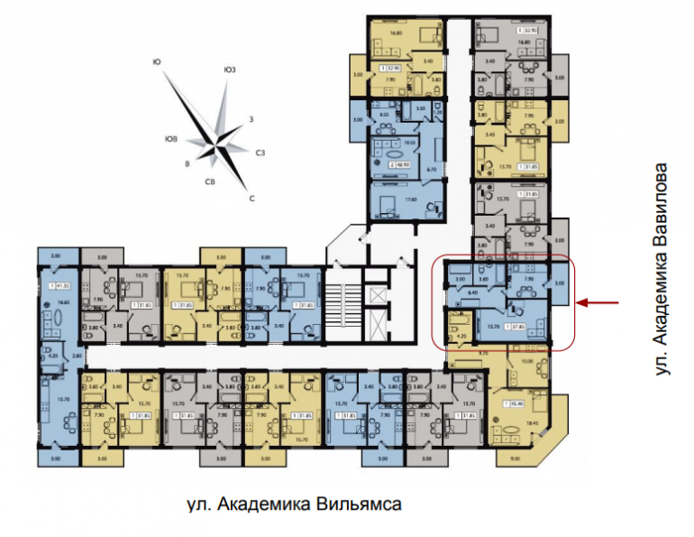 ЖК Два академика Однокомнатная Площадь 37,85 Расположение на этаже
