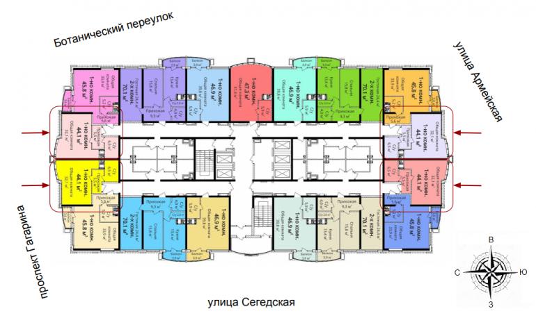 ЖК 4 сезона 3 очередь Однокомнатная Площадь 44,1 Расположение на этаже