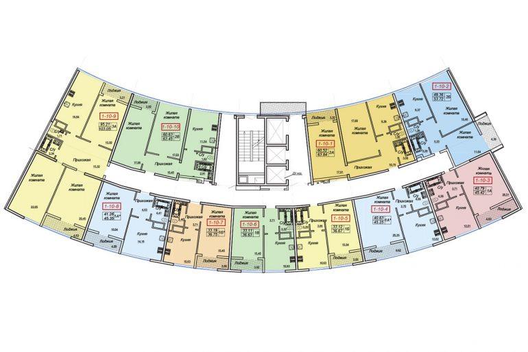 ЖК Двадцать шестая жемчужина Секция 1 План типового этажа