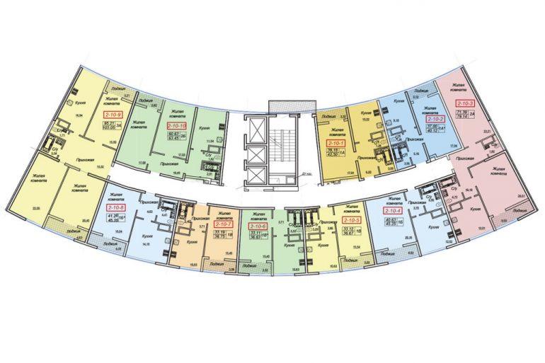 ЖК Двадцать шестая жемчужина Секция 2 План типового этажа