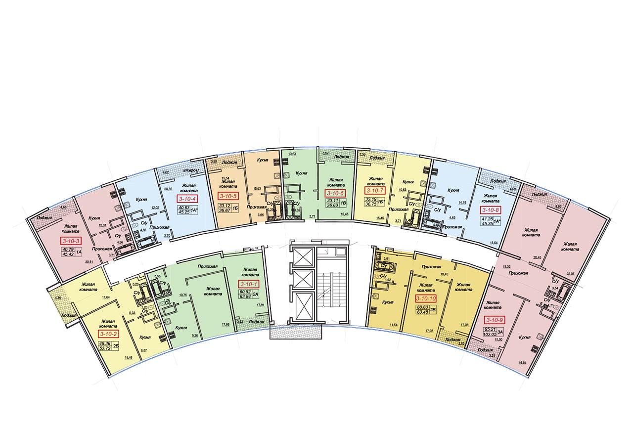 ЖК Двадцать шестая жемчужина Секция 3 План типового этажа