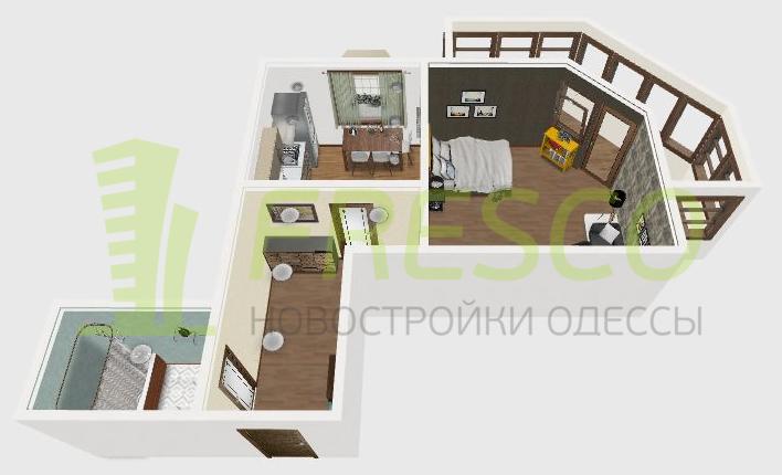 ЖК Два академика Однокомнатная Площадь 42 3Д планировка