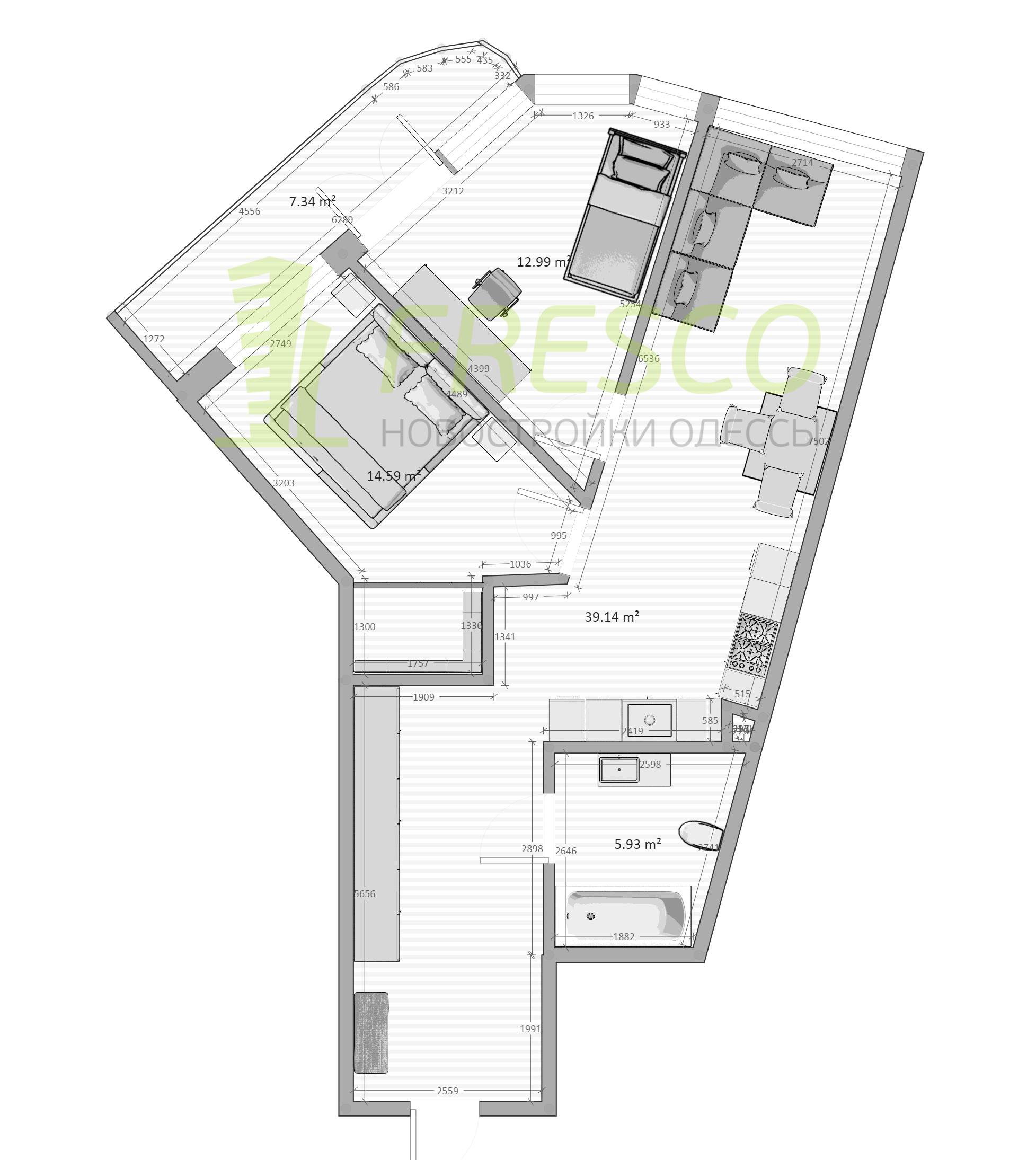 Двухкомнатная - ЖК Kandinsky Residence (Кандинский)$100295Площадь:75,24m²