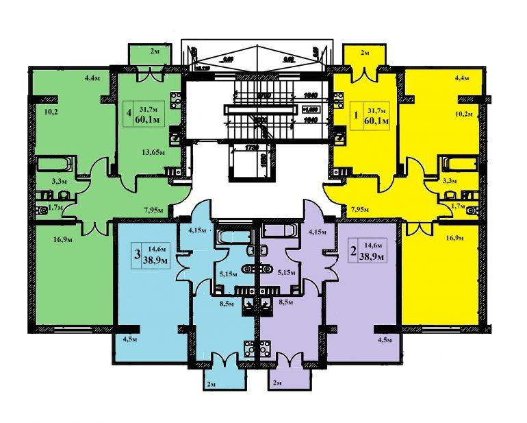 ЖК Якоря Дом 3 Секция А, Б, Г Планировка типового этажа