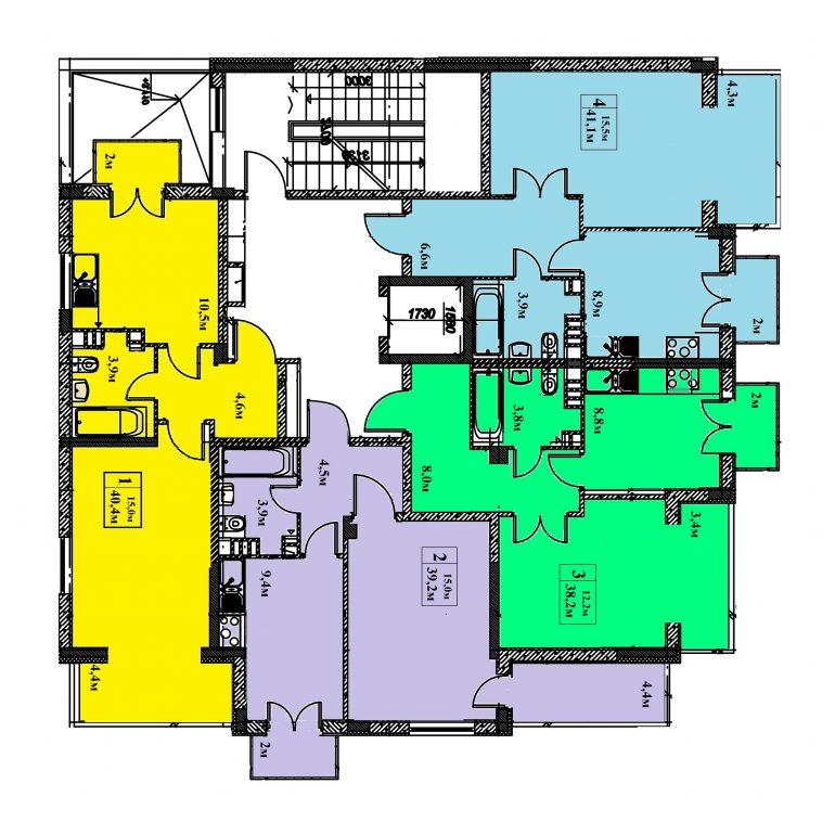 ЖК Якоря Дом 3 Секция В Планировка типового этажа