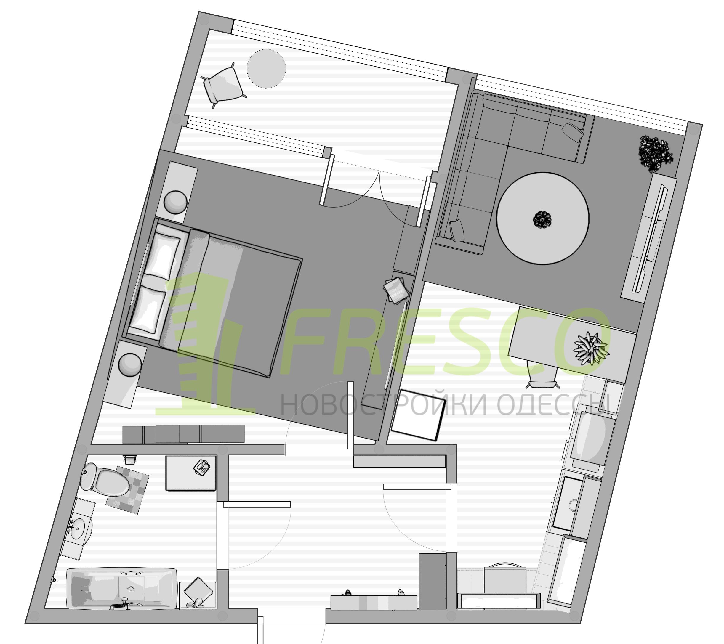 Однокомнатная - ЖК Kandinsky Residence (Кандинский)ПроданаПлощадь:47,77m²