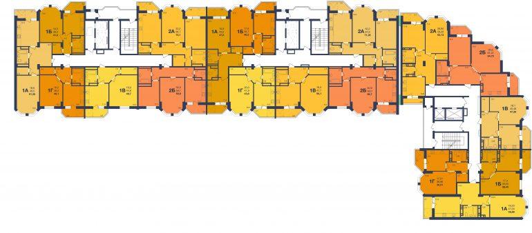 ЖК Новая Европа Секция 1-3 Планировка типового этажа