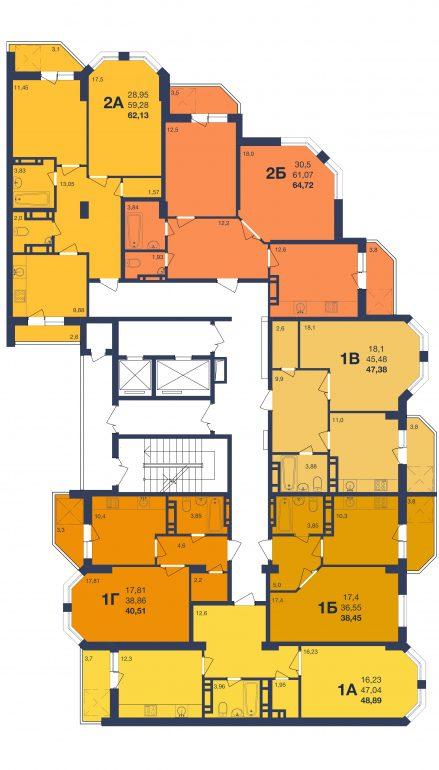 ЖК Новая Европа Секция 1 Планировка типового этажа