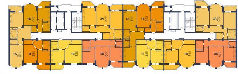 ЖК Новая Европа Секция 2-3 Планировка типового этажа
