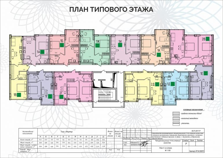 ЖК Приморские Сады Секция 2 Планировка типового этажа