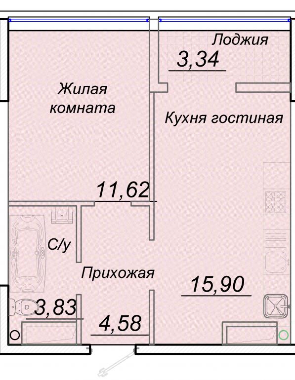 ЖК 44 Жемчужина Однокомнатная №3 Площадь 39,2 кв.м Планировка