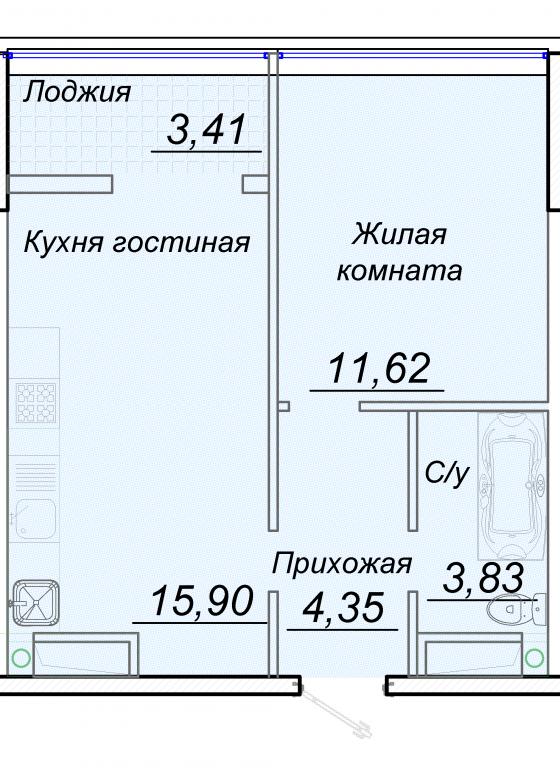ЖК 44 Жемчужина Однокомнатная №4 Площадь 39,2 кв.м Планировка