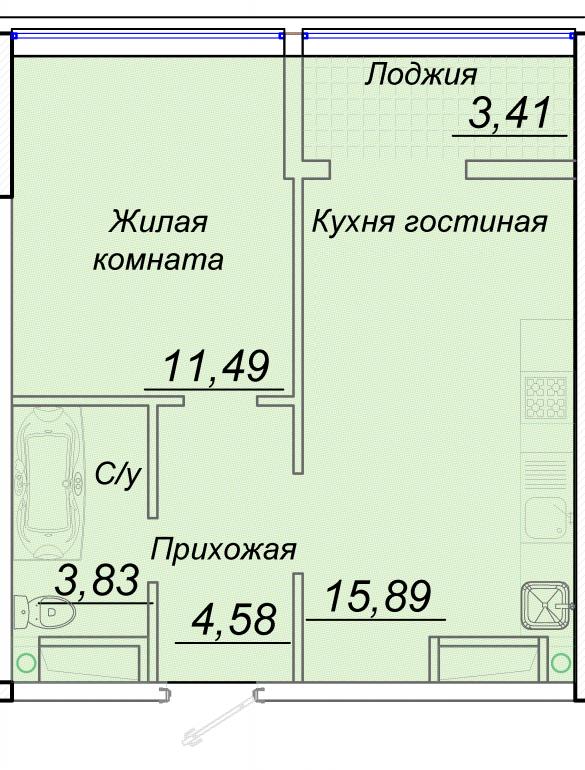 ЖК 44 Жемчужина Однокомнатная №5 Площадь 39,87 кв.м Планировка