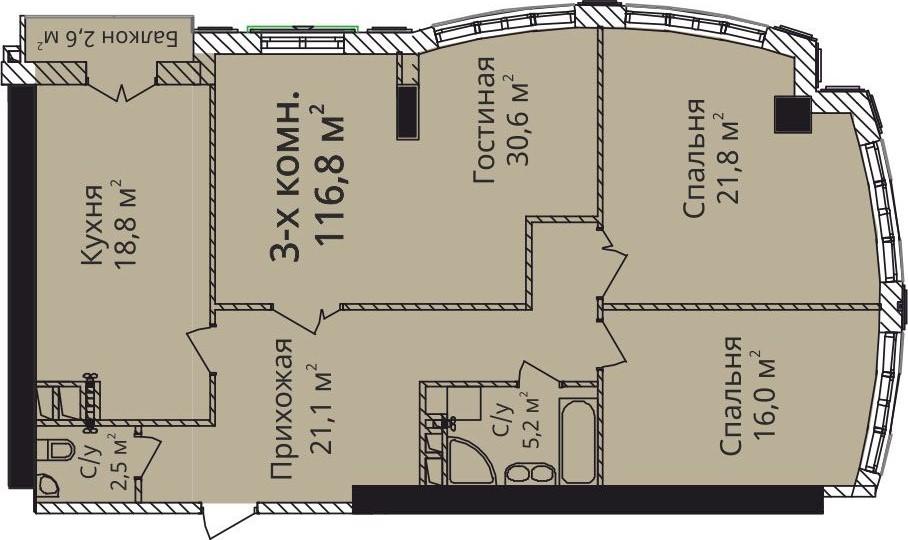 Трехкомнатная - ЖК Бельэтаж Дом на Белинского$191930Площадь:112,9m²