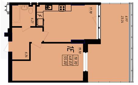 ЖК Маршал Сити 5 секция Однкомнатная Площадь 55 кв.м Планирвока