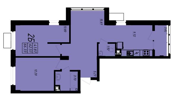 ЖК Маршал Сити 5 секция Двухкомнатная Площадь 65,99 кв.м Планировка