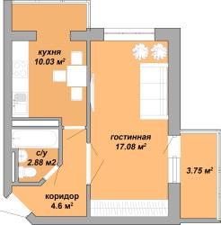 ЖК Акварель Однокомнатная Площадь 38,34 кв.м Планировка 1
