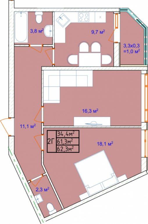 ЖК Аквамарин Секция 2б Двухкомнатная 62,3 кв.м Планировка