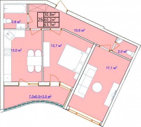 Двухкомнатная - ЖК Аквамарин44017Площадь:63,7m²