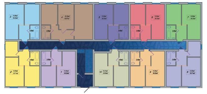 ЖК Дом на Ризовской СК ЛигЮгСтрой План типового этажа