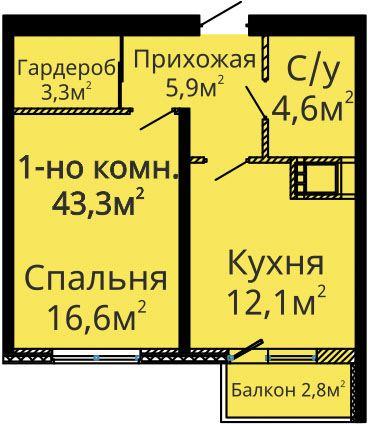 42,7 кв.м ЖК Альтаир-2 2 секция Однокомнатная Площадь Планировка