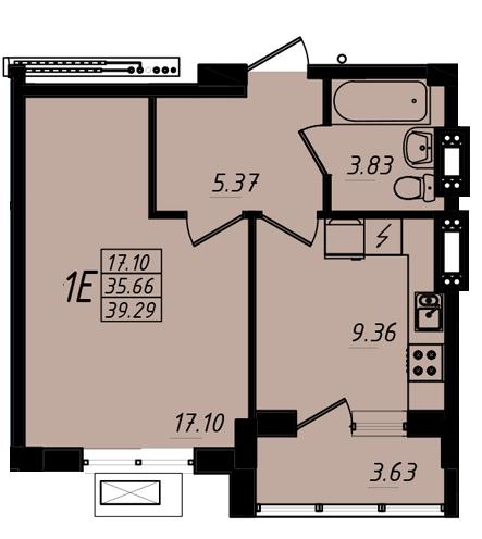 39,29 кв.м ЖК Маршал Сити 3 секция Однокомнатная Площадь Планировка