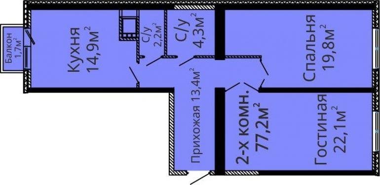 ЖК Альтаир-2 Секция 1 Двухкомнатная Площадь 76,6 ка.м Планировка