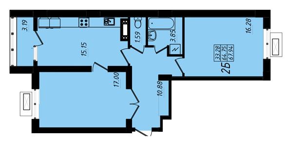 ЖК Маршал Сити 3 секция Двухкомнатная Площадь 68,09 кв.м Планировка
