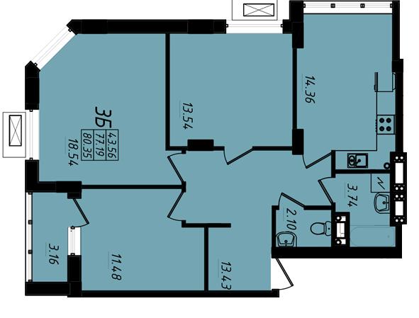 80,84 кв.м ЖК Маршал Сити 3 секция Трехкомнатная Площадь Планировка