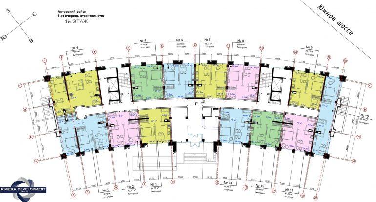 ЖК Авторский район 1 очередь Планировка 1 этажа