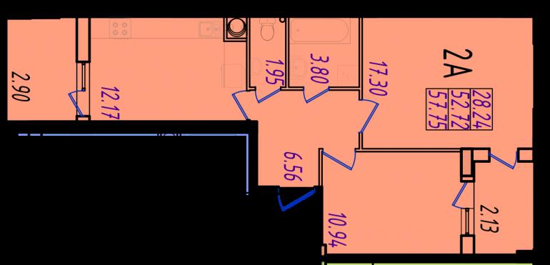 ЖК Маршал Сити 2 секция Двухкомнатная Площадь 64,85 кв.м Планировка