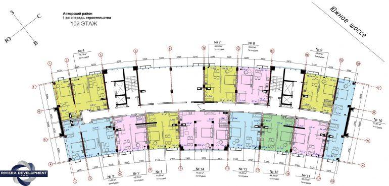 ЖК Авторский район 1 очередь Планировка 10 этажа