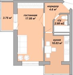 ЖК Акварель Однокомнатная Площадь 38,34 кв.м Планировка 3