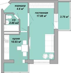ЖК Акварель Однокомнатная Площадь 38,34 кв.м Планировка 4