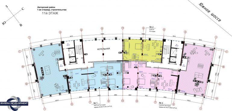 ЖК Авторский район 1 очередь Планировка 11 этажа